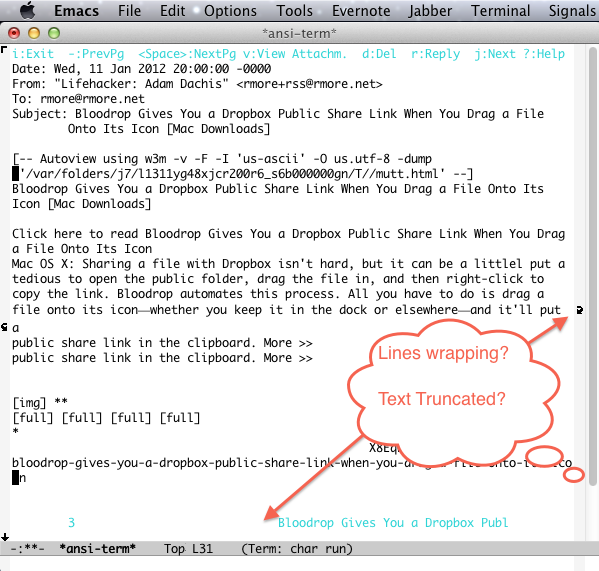 Screen shot of Emacs Lines Wrapping When They Shouldn't